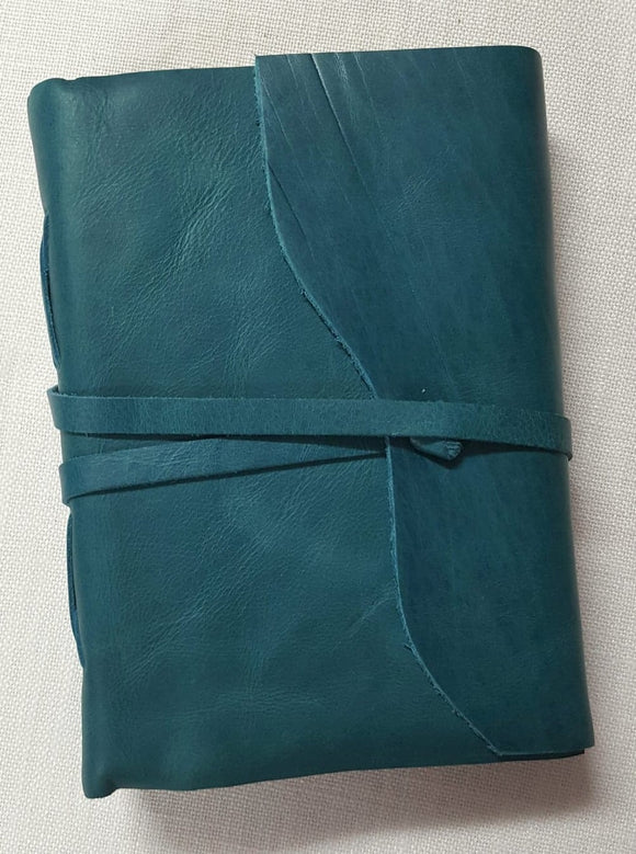 Teal Leather Bound Journal with Deckled Edge Handmade Paper