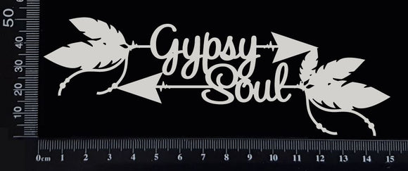 Boho Word Arrow - Gypsy Soul - White Chipboard