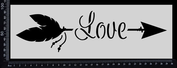 Boho Word Arrow - Love - Stencil - 100mm x 300mm
