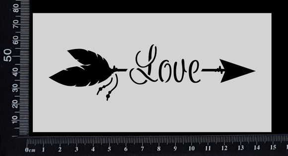 Boho Word Arrow - Love - Stencil - 75mm x 150mm