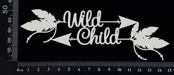Boho Word Arrow - Wild Child - White Chipboard