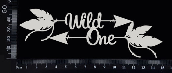 Boho Word Arrow - Wild One - White Chipboard