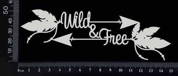 Boho Word Arrow - Wild & Free - White Chipboard