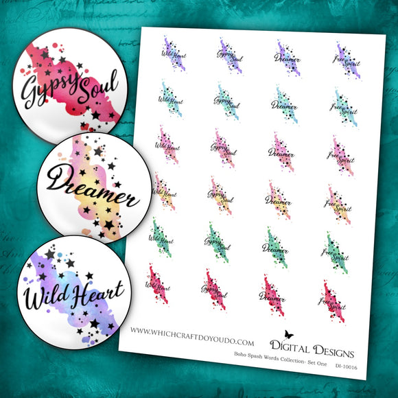 Boho Splash Words Collection - Set One - DI-10016 - Digital Download