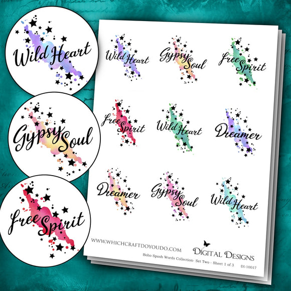 Boho Splash Words Collection - Set Two - DI-10017 - Digital Download