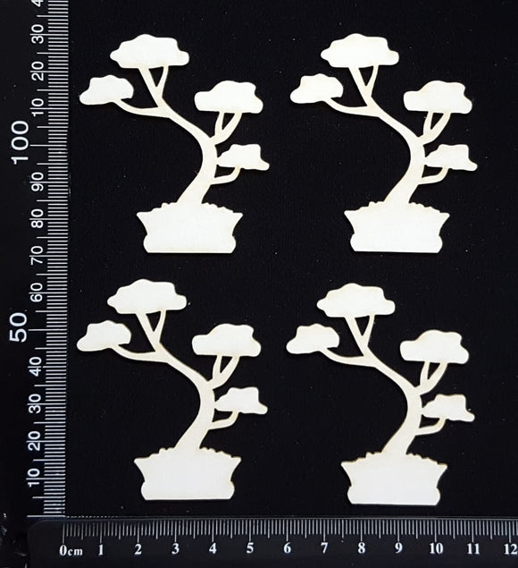 Bonsai Tree - B - Set of 4 - Small - White Chipboard