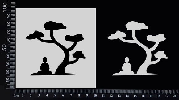 Buddha Under a Tree - Stencil - 100mm x 100mm