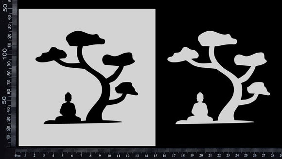 Buddha Under a Tree - Stencil - 150mm x 150mm