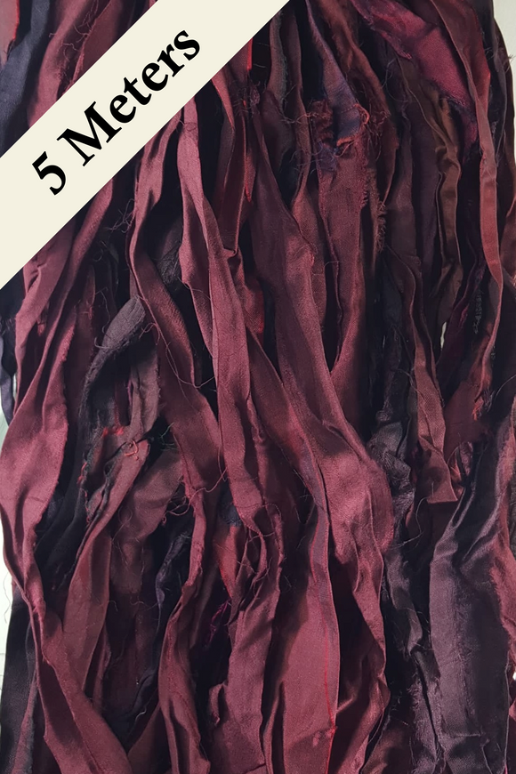 Reclaimed Sari Silk Ribbon - Burgundy - 5m Pack