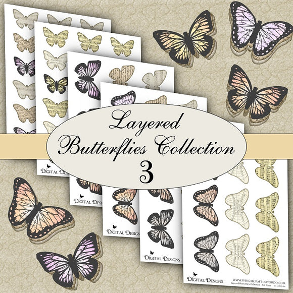 Layered Butterflies Collection - Set Three - DI-10002 - Digital Download