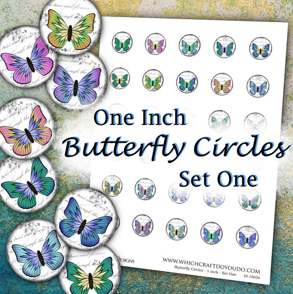 Butterfly Circles - 1 inch - Set One - DI-10036 - Digital Download