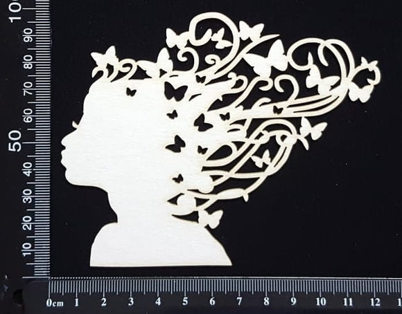 Butterfly Girl - A - Small - White Chipboard