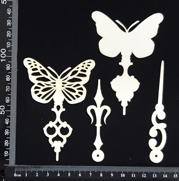 Butterfly Pins Set - F - Layering Set - White Chipboard