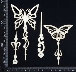 Butterfly Pins Set - A - White Chipboard