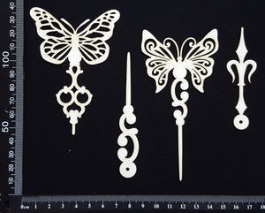 Butterfly Pins Set - B - White Chipboard