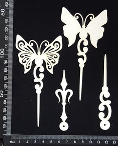 Butterfly Pins Set - C - Layering Set - White Chipboard