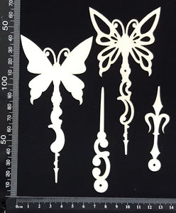 Butterfly Pins Set - D - Layering Set - White Chipboard