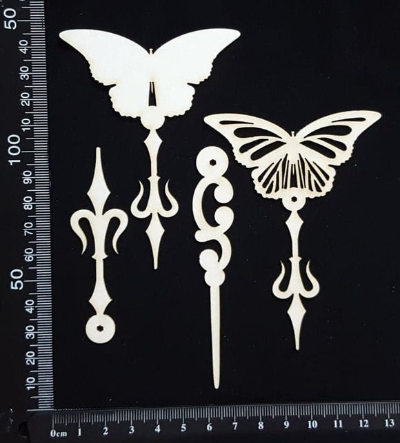 Butterfly Pins Set - E - Layering Set - White Chipboard