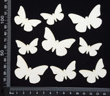 Butterfly Set - AB - White Chipboard