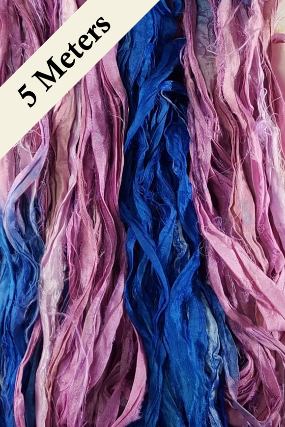 Reclaimed Sari Silk Ribbon - Candypop - 5m Pack