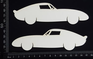 Car Set G - White Chipboard