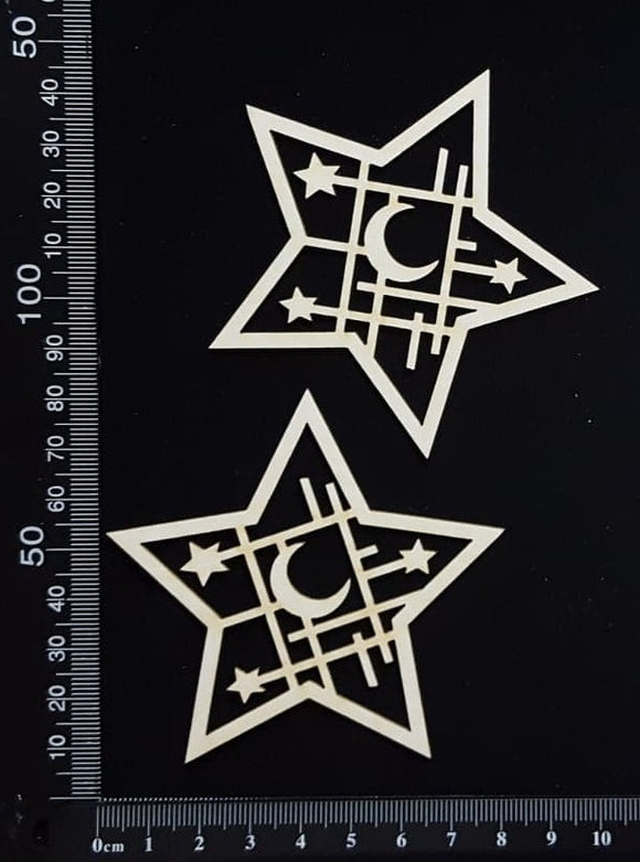 Celestial Mesh Stars Set - White Chipboard