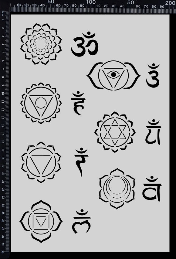 Chakras Set - Stencil - 200mm x 300mm