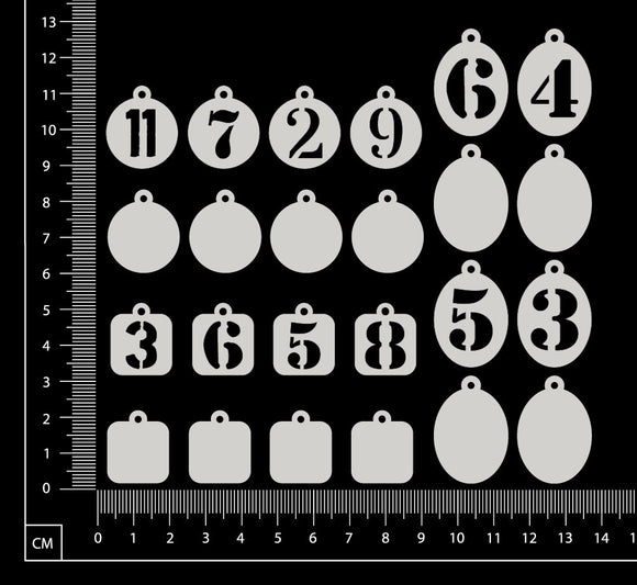 Tiny Charms - Numbers - A - White Chipboard
