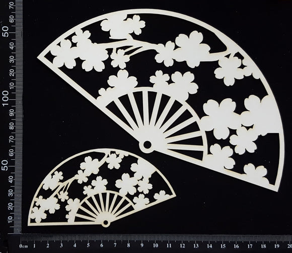 Cherry Blossom Fan - C - Set of 2 - White Chipboard