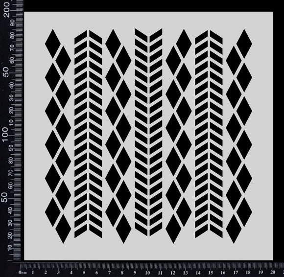 Chevron & Harlequin Mix - Stencil - 200mm x 200mm