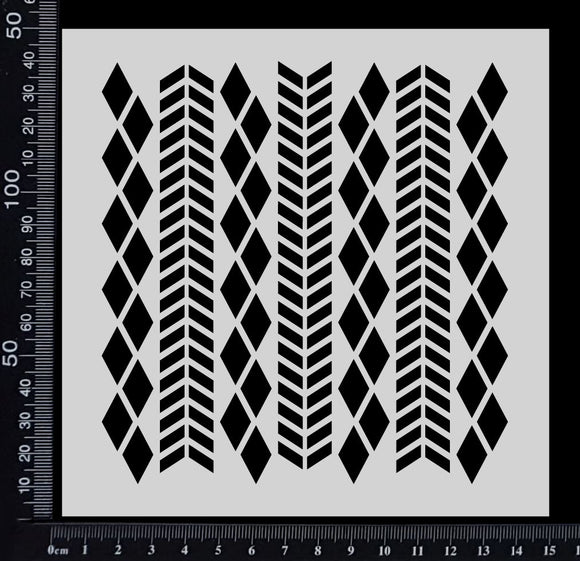 Chevron & Harlequin Mix - Stencil - 150mm x 150mm