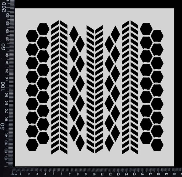 Chevron, Harlequin & Chicken Wire Mix - Stencil - 200mm x 200mm