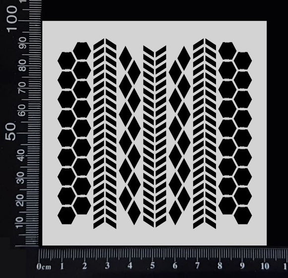 Chevron, Harlequin & Chicken Wire Mix - Stencil - 100mm x 100mm