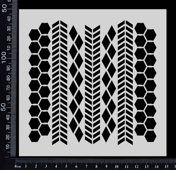 Chevron, Harlequin & Chicken Wire Mix - Stencil - 150mm x 150mm