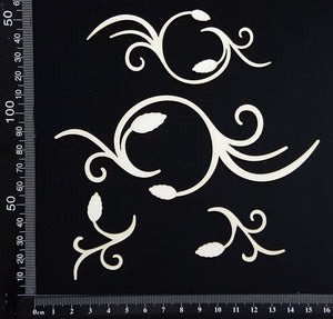 Circle Flourish Set - White Chipboard