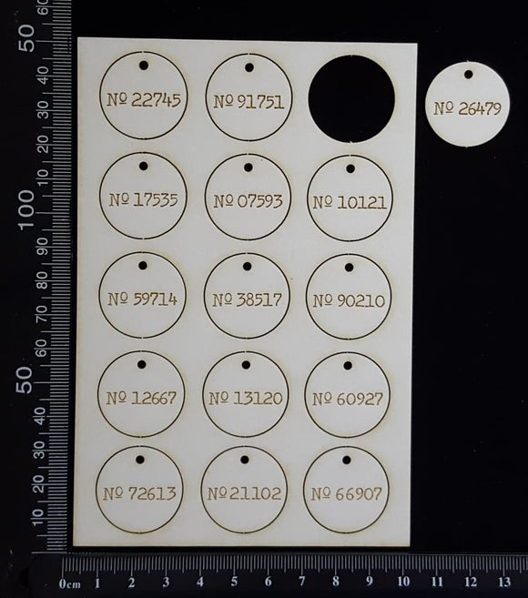 Laser Engraved Circle Number Tags - C - White Chipboard