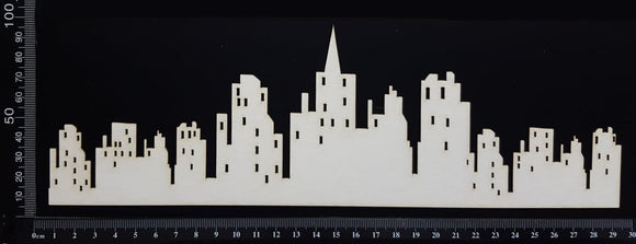 City Skyline Border - A - Large - White Chipboard