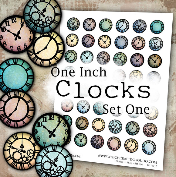 Clocks - 1 Inch - Set One - DI-10047 - Digital Download