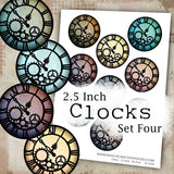 Clocks - 2.5 Inch - Set Four - DI-10046 - Digital Download