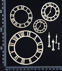 Clocks and Clock Hands Set - White Chipboard