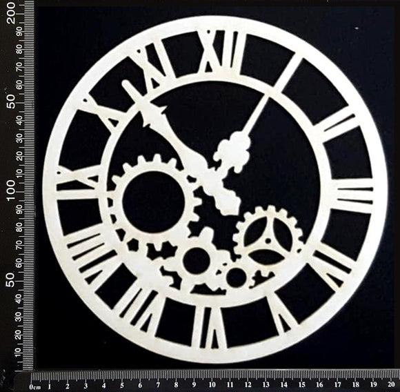 Clockwork Clock - CC - Large - White Chipboard