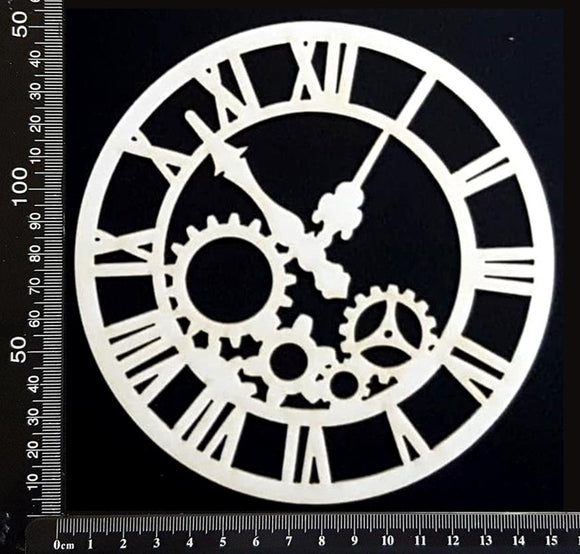 Clockwork Clock - CB - Medium - White Chipboard