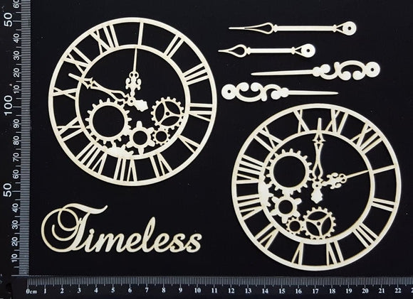 Clockwork Clocks Set - A - Large - White Chipboard