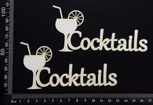 Cocktails - Set of 2 - White Chipboard