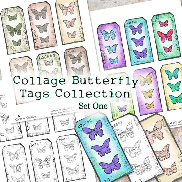 Collage Butterfly Tags Collection - Set One - DI-10010 - Digital Download