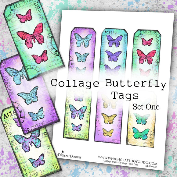 Collage Butterfly Tags - Set One - DI-10032 - Digital Download