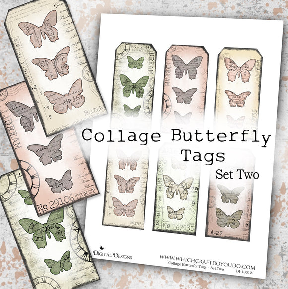 Collage Butterfly Tags - Set Two - DI-10012 - Digital Download