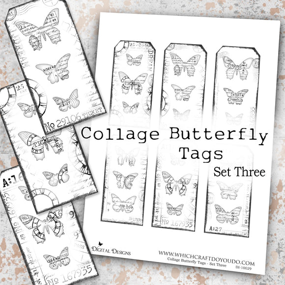 Collage Butterfly Tags - Set Three - DI-10029 - Digital Download