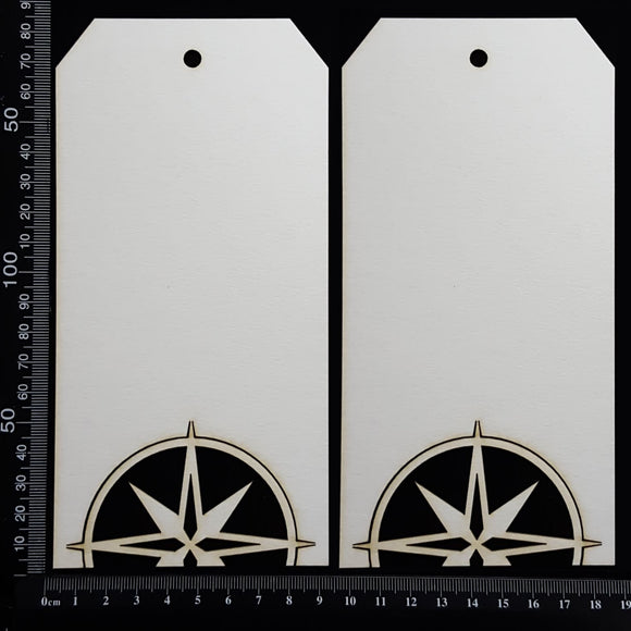 Compass Tag Set - Large - A - White Chipboard