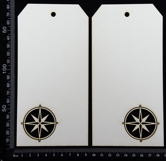 Compass Tag Set - Large - C - White Chipboard